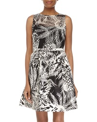 Taylor Pineapple Print Sleeveless Fit And Flare Dress Cream Black