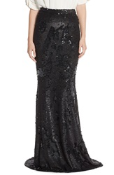 Badgley Mischka Sequin Mermaid Maxi Skirt Black