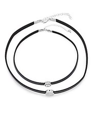 Saks Fifth Avenue Cubic Zirconia And Leather Double Round Choker Necklace Silver
