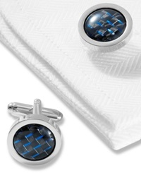 Geoffrey Beene Cufflinks Polished Rhodium Round With Black And Blue Carbon Center Boxed Set Black Blue