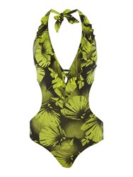 Biba Palm Cut Out Swimsuit Lime