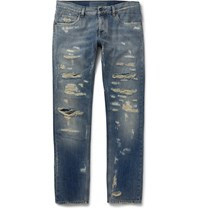 Dolce And Gabbana Slim Fit Distressed Denim Jeans Blue