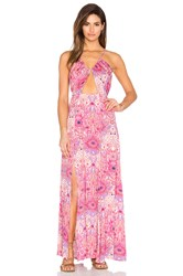 Somedays Lovin Paisley Heat Maxi Split Dress Pink