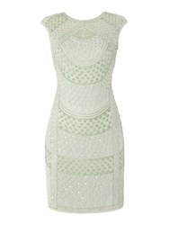 Lace And Beads Cap Sleeve Embellished Bodycon Dress Mint