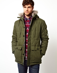 Voi Jeans Voi Padded Parka Jacket With Hood Olive