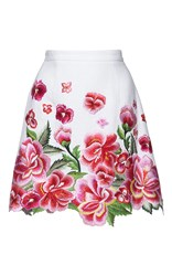 Andrew Gn Floral Embroidered Mini Skirt White