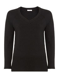 Marella Pale V Neck Ribbed Hem Jumper Black