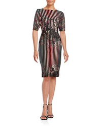 Gabby Skye Striped Floral Sheath Dress Black Multi
