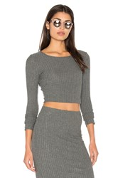 Bella Luxx Plush Rib Long Sleeve Crop Top Gray