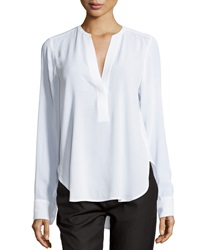 Vince Half Placket Long Sleeve Blouse White