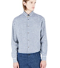 Aganovich Striped Linen Shirt Blue
