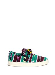 Ports 1961 Pompom Drawstring Tribal Knit Skate Slip Ons Multi Colour