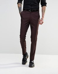 Asos Slim Suit Trousers In Tonic Burgandy Red