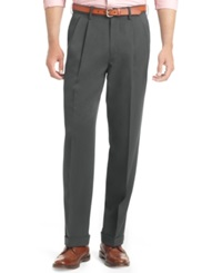 Izod Big And Tall Pleated Traveler Dress Pants Charcoal Grey