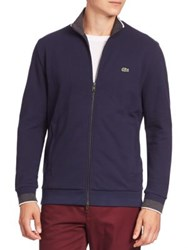 Lacoste Textured Zip Front Cardigan Kelp Navy Blue Flour Navy Blue Dark Grey Jasper Fl
