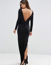 Asos Low Back Long Sleeve Maxi Dress Black