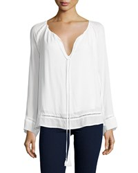 The Jetset Diaries Lace Inset Tie Front Blouse Ivory
