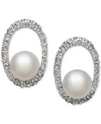 Belle De Mer Bridal Cultured Freshwater Pearl 10Mm And Crystal Earrings In Silver Plated Brass