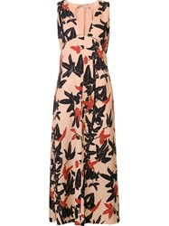 N 21 No21 'Leaves' Print V Neck Dress Pink And Purple