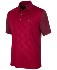 Greg Norman For Tasso Elba Men's Diamond Embossed Golf Polo Only At Macy's Bright Crimson