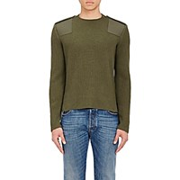 Valentino Men's Virgin Wool Cashmere Military Sweater Dark Green