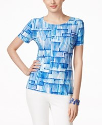 Jm Collection Jacquard Printed Top Only At Macy's Blue
