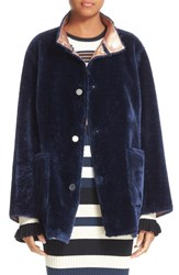 Opening Ceremony Women's 'Culver' Reversible Faux Fur Coat Deep Navy Multi