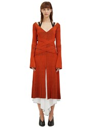 Proenza Schouler Long Cross Over Wrap Ribbed Dress Orange