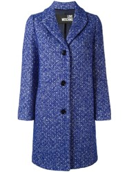 Love Moschino Tweed Buttoned Coat Blue