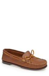 Minnetonka Men's Leather Camp Moccasin Maple