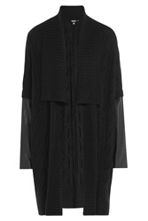 Dkny Cardigan With Alpaca Mohair And Leather Black