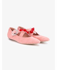 Simone Rocha Pony Skin Bead Embellished Flats Pink Multi Coloured