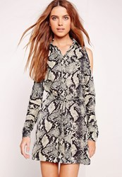 Missguided Cold Shoulder Snake Print Shirt Dress Multi Multi