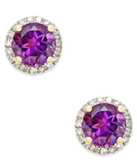 Macy's Amethyst 1 1 2 Ct. T.W. And Diamond 1 6 Ct. T.W. Stud Earrings In 14K Gold Purple