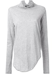Bassike Funnel Neck Top Grey