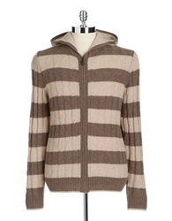 Black Brown Lambswool Blend Striped Hooded Cable Knit Sweater Fawn Heather