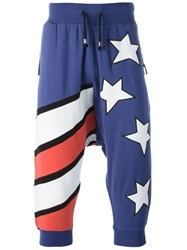 Unconditional 'Americana' Cropped Track Pants Blue