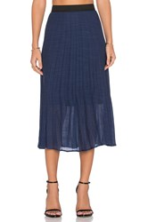 Wayf Pleated Midi Skirt Navy