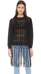 Michaela Buerger Donna Anna Crochet Pullover Black