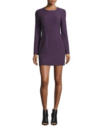 Elizabeth And James Rudi Long Sleeve Crepe Open Back Sheath Dress Deep Plum
