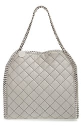 Stella Mccartney 'Small Falabella' Quilted Faux Leather Tote Grey Light Grey