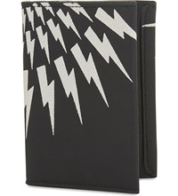 Neil Barrett Lightning Bolt Leather Card Holder Black White