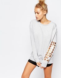 Puma Oversized Crew Neck Sweatshirt With Rose Arm Gold Logo Grey