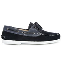 M.Studio Blue Jeans And Navy Suede Luke Smooth Leather Boat Shoes