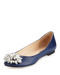 Neiman Marcus Mystic Crystal Leather Flat Navy