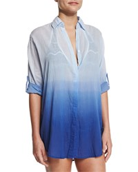 Letarte Midnight Waves Ombre Button Down Coverup Navy Multi