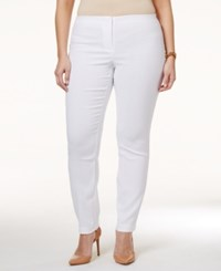 Alfani Plus Size Snakeskin Print Jacquard Pants Only At Macy's Bright White