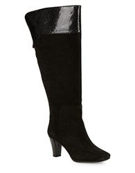 Bandolino Viet Wide Calf Suede Knee High Boots Black