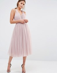 Little Mistress Embellished Midi Dress With Tulle Skirt Mink Pink