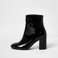 River Island Womens Black Patent Zip Front Boots